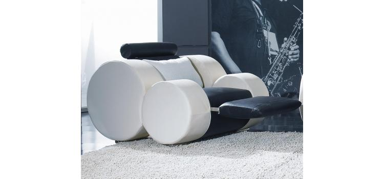 T17 Contemporary Black and White Sofa recliners