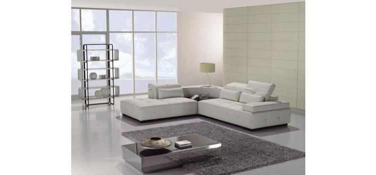 T90 Modern white leather sectional sofa