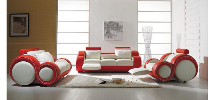 T 27 - Contemporary White and Red Leather Sofa Set