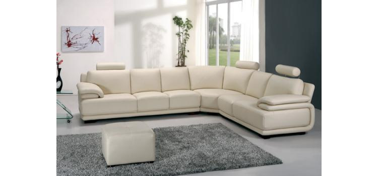 A31 Modern Off White Leather Sectional Sofa