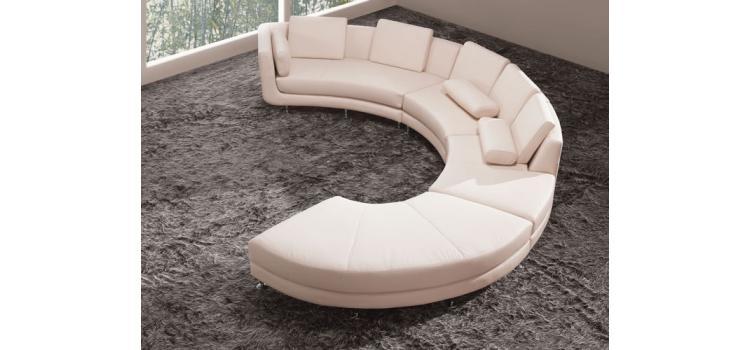 A94 - White Bonded Leather Sectional Sofa Set