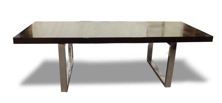 Modern Black Crocodile Lacquer Dining Table