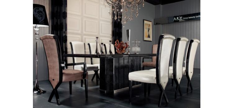 AC832-240 - Luxury Black Crocodile Dining Table