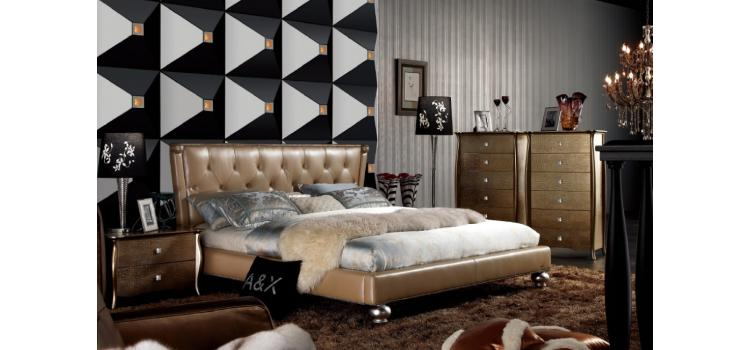 Modern Champagne Leather Bed AW227-180