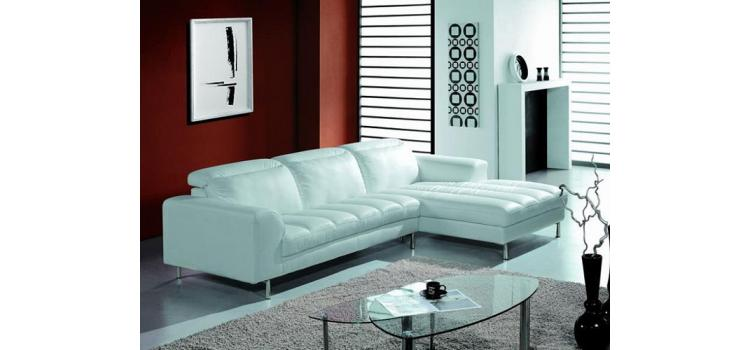 BO3933 White Leather Sectional