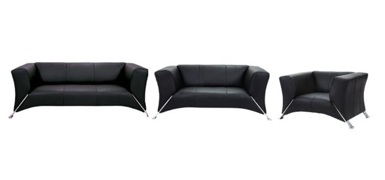 F81 - Black Leather Sofa Set