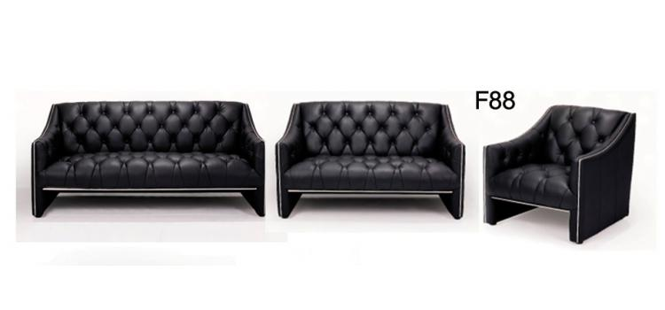 F88 - Black Leather Sofa Set