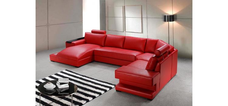 Orion - Red Bonded Leather Sectional Sofa Set