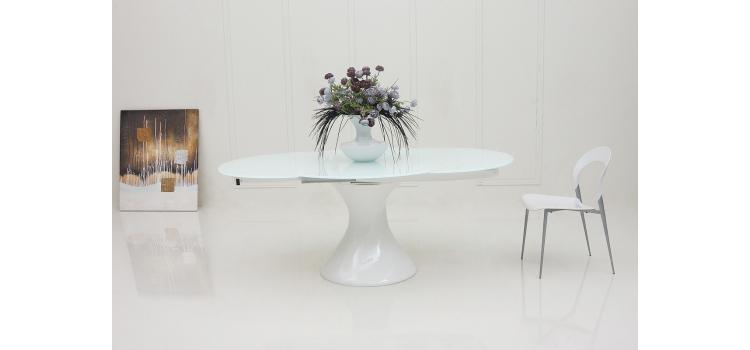 Savor Modern Round White Lacquer Dining Table