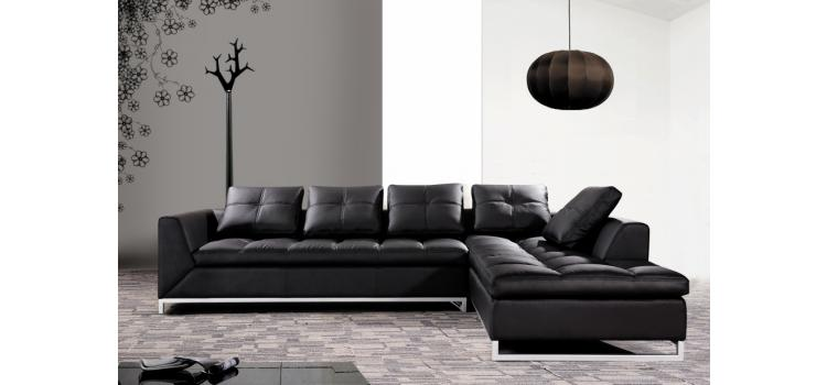 Rigatto (0347) - Modern Black Leather Sectional