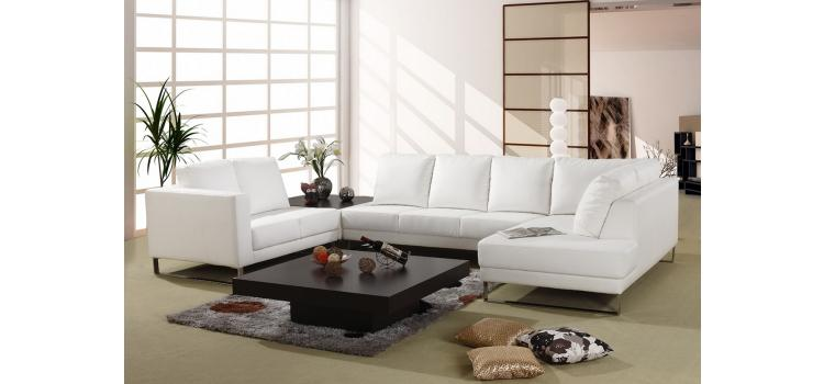 3002 White Bonded Leather Sectional Sofa