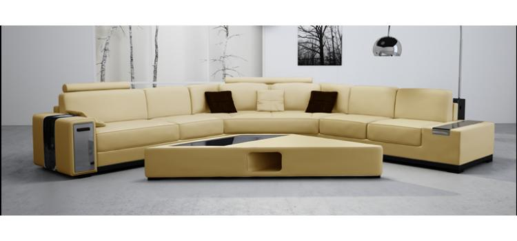2516B Beige Leather Sectional Sofa