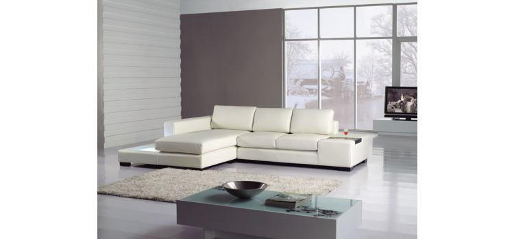 T35-Mini White Bonded Leather Sectional with Light
