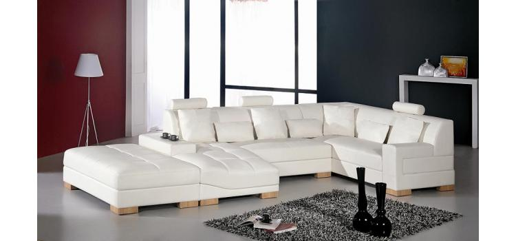 Florence Modern White leather Sectional Sofa