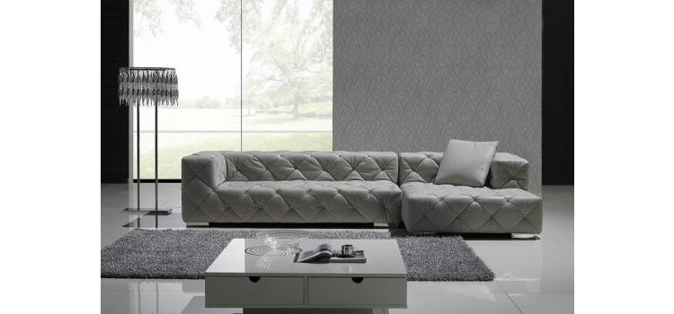 T163 - Full Leather Sectional Sofa with Crystals