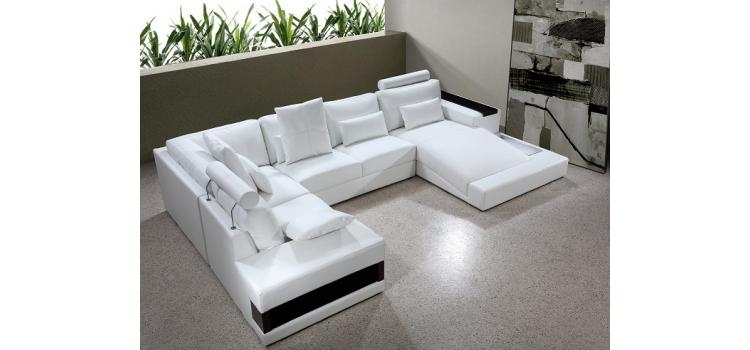 Diamond - White Bonded Leather Sectional Sofa Set with Lights