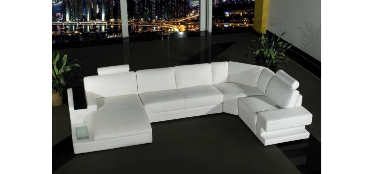 Orion - White Bonded Leather Sectional Sofa Set