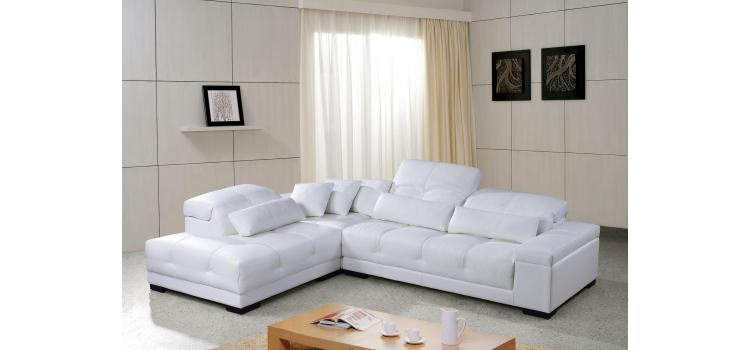 Rodeo Modern White Leather Sectional Sofa with Headrests