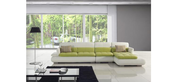 T217-White and Green Leather Sectional Sofa