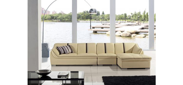 T198-Cream Leather Sectional Sofa