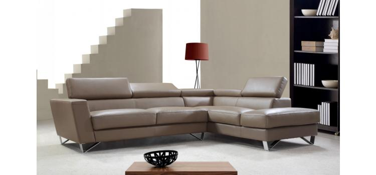 Waltz- Beige Leather Sectional Sofa
