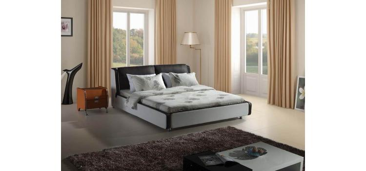 Modern Black and White Leatherette Bed