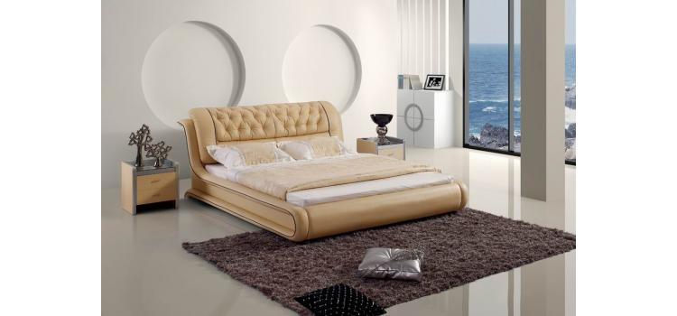 Contemporary Tufted Beige Leatherette