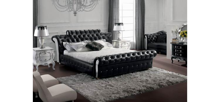 Retro - Contemporary Black Tufted Leatherette Bed