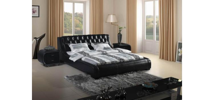 Contemporary Black Tufted Leatherette Bed