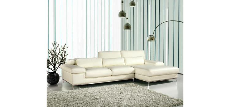 681 - White Leather L Shape Sectional Sofa