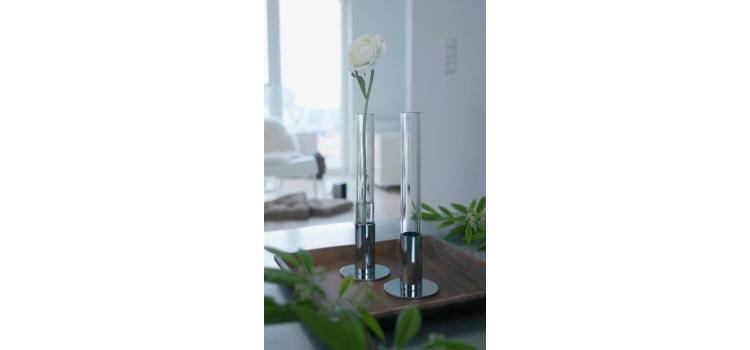 Glass and Stainless Steel Flower Vase