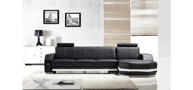 Modern Black Leather Two Piece Sectional