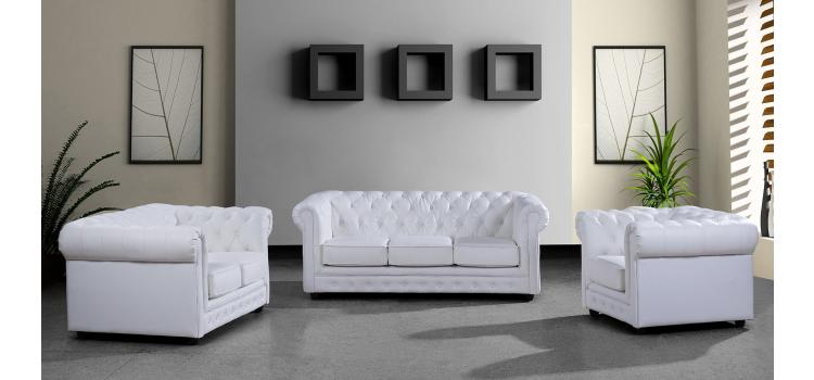 Paris 3 Modern White Leather Sectional Sofa