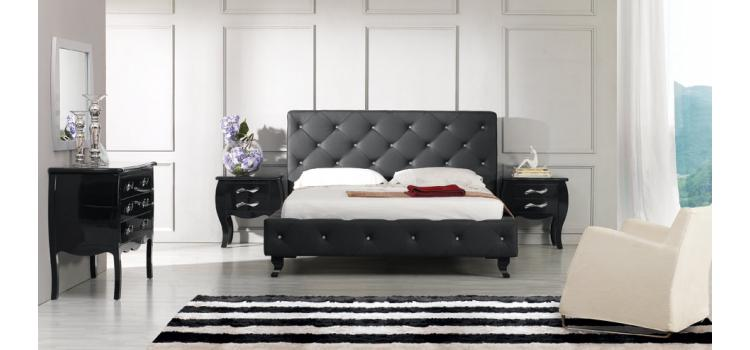 Monte Carlo Black Leatherette Modern Bed with Crystals