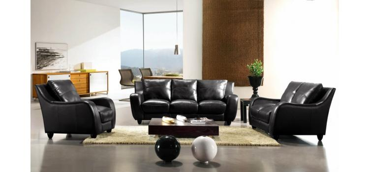 Full Leather Bremen Black Sofa Set