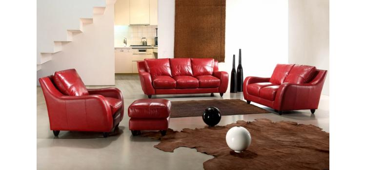 Full Leather Bremen Red Sofa Set