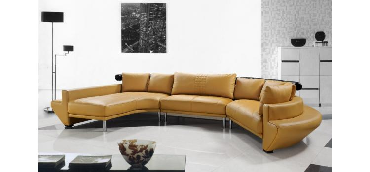 Jupiter Mustard Leather Sectional Sofa