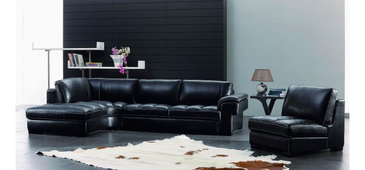 SBO3999 Modern Black Leather Sectional Sofa Set