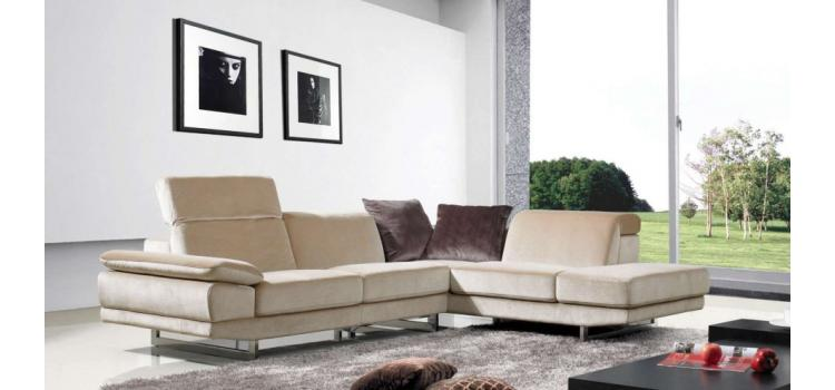 1060 - Beige Fabric Sectional Sofa (Right Facing)
