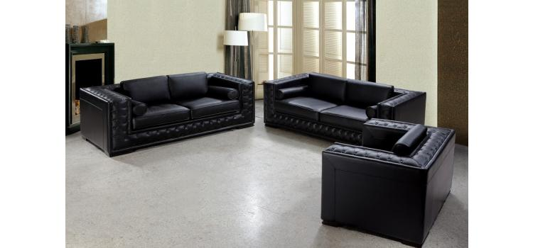 Dublin Luxurious Black Leather Sofa Set