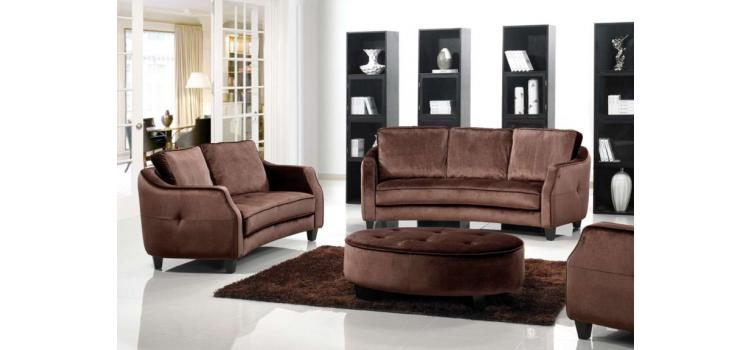 1079 - Brown Fabric Sofa Set with Ottoman