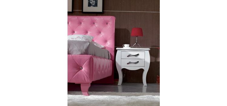 Monte Carlo Pink Leatherette Modern Twin Bed
