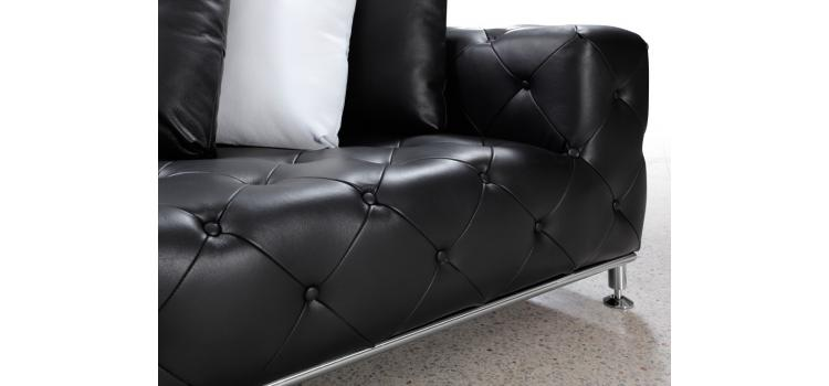 Jazz - Black Modern Tufted Leather Sectional Sofa
