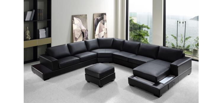 Ritz - Modern Black Leather Sectional Sofa Set