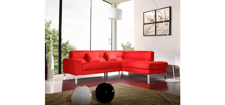 Bella Italia Leather 216 Sectional Sofa In Red