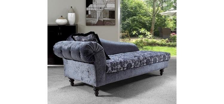 Metropolitan Gray Fabric Chaise with Crystals