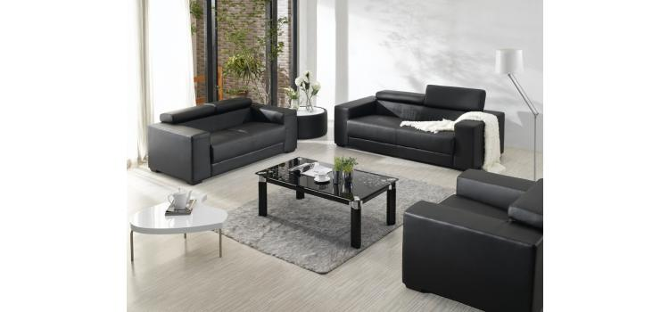 2909 - Black Bonded Leather Sofa Set