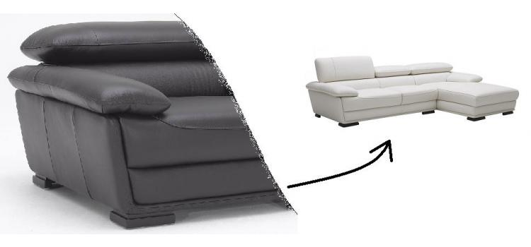 K-987 - Espresso Bonded Leather Sectional Sofa