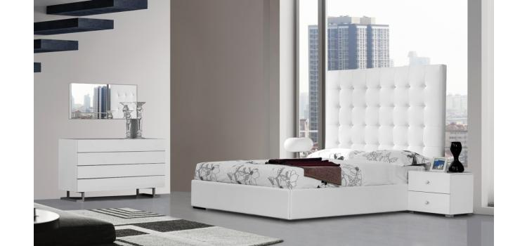 Lyrica - White Bonded Leather Tall Headboard Bed