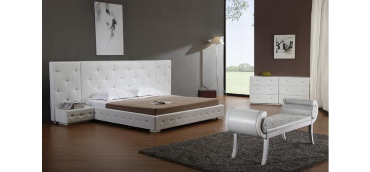 Melody - White Modern Leather Platform Bed with Two Nightstands
